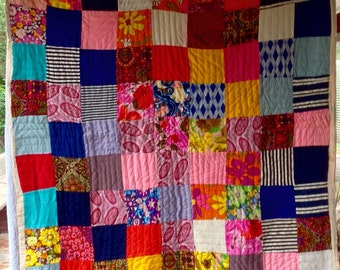 Vintage Retro PATCHWORK Quilt HIPPIE COOL Polyester Knit Fabrics 1960's