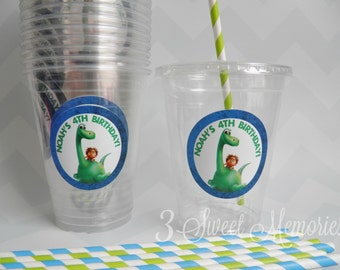 Set of 24- The Good Dinosaur Party Cups, Lids & Straws