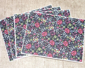 Floral Note Cards-  Blank Cards- Note Cards Sets- Stationery Set- Flower Notecards- Set of 4