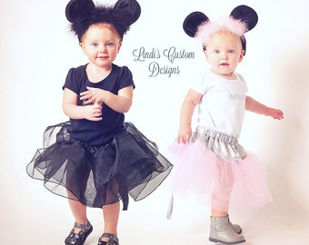 Sister Tutu Costumes, Cat and Mouse, Twins, Set of 2 Cat and Mouse Costumes, Black Cat, Pink Gray Mouse, Halloween Costume for Twin Girls