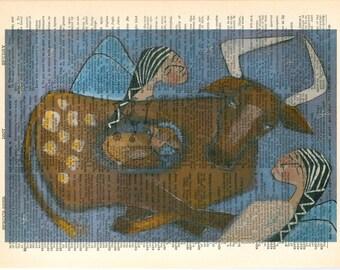 Crossroads with Angels - Vintage Ephemera - Original Art  - Altered - Cathy DeLeRee