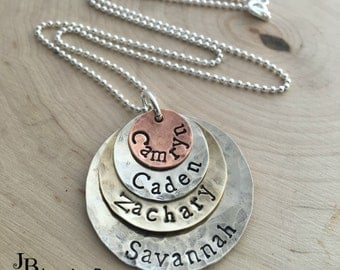 Hand Stamped Necklace ~ Personalized Necklace ~ Mother's Necklace ~ Kid's Names ~ Mixed Metal Quadruple Stacked Necklace ~ Mommy Necklace