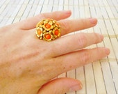 Vintage Flower Power Statement Ring, Gold & Orange, Made in Austria, Cluster ring, Retro, 1960's, Cocktail ring, Domed, Kitschy