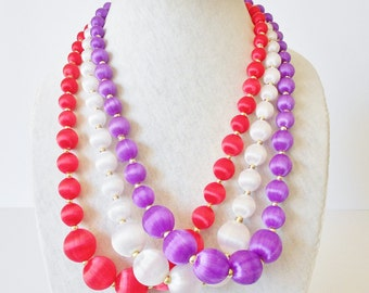 Satin Beads Necklace, Retro, Graduated strand, 1980's jewelry, Red Purple OR White, You Pick the Color, Bead Necklace