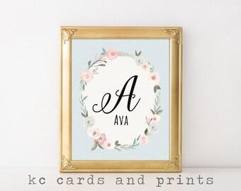 Ava Name Art - A Nursery Monogram - Nursery Print - Name Printable-  Nursery Wall Art - Baby Girl Monogram Wall Art