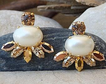 Pearl Stud Cluster Earrings, Swarovski and Pearl Earrings, Gold Pearl Stud Earrings, Pearl Champagne Earrings, Bridesmaid Bridal Jewelry