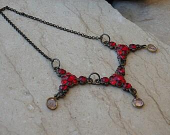 Red necklace. Ruby crystal necklace. Swarovski crystals garnet necklace. Red Jewelry. Vintage style triple necklace.Brass frame necklace