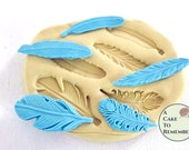 """Feather mold for gumpaste and cake decorating. 1.5"""" to 2"""" feathers, good for cake pops. Polymer clay or resin mold, silicone mould M1017"""