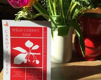 Wild cherry jam recipe postcard
