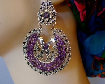 Mexican silver filagree LARGE crescent arracada earrings drop Oaxaca Frida Kahlo elegant romantic gypsy drop 2  7/8""