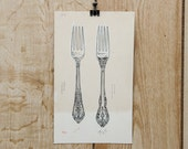 1970s Vintage Illustration Ohio Silverware Forks O'Neil's Hand DrawnAdvertising Akron Original Pen Sketch Winebrenner King Edward Roseprint