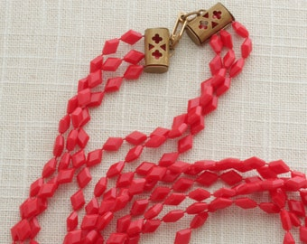 Red Long Necklace Vintage Layered Multi Strand Triple Costume Jewelry 16C