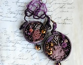 Statement, fabric textile, mixed media, hand embroidered, romantic, large earrings - In plum we trust