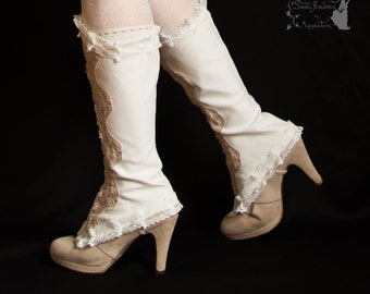 Spats Victorian inspired, Steampunk shoe covers, ivory, Maeror, Somnia Romantica,approx size medium large see item details for measurements