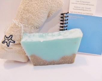 Ocean Soap, spa soap, shredded loofah, sand and sea, salt, sea salt, beach, ocean, sea