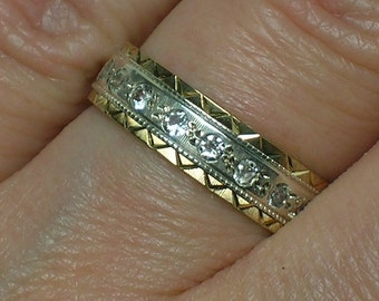 Antique Wedding Band: English 9ct & Silver, White Spinel Eternity. Size 5