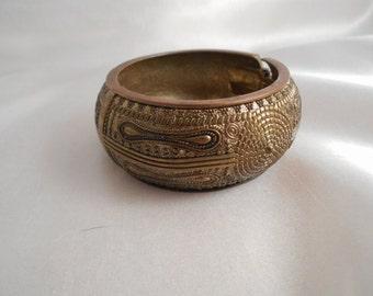 Brass Clamper Bracelet Mid Century Chunky Raised Detail Asian or Tribal Motif Vintage Estate Domed 70s Jewelry Statement Bangle Bracelet