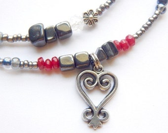 Waistbeads, Sankofa Womb-Healing Hematite Waist Beads, Belly Chain