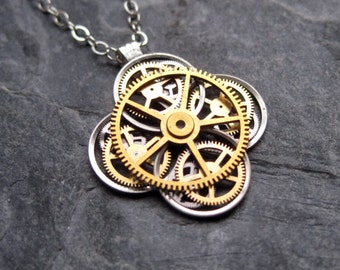 "Clockwork Flower Necklace ""Agardh"" Elegant Recycled Watch Parts Gear Pendant Mechanical Plant Balance Wheel Petals Valentine's Day"