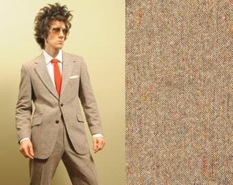 mens vintage 70s tweed suit oatmeal tan rainbow fleck tweed Archdale wide leg flare cuff pant vintage mens suit 38-40 1970 menswear
