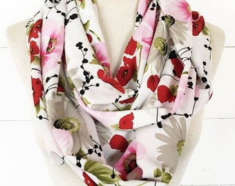 Infinity / Loop Scarf - Silky White, Pink and Red Poppy Scarf