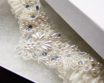 Opal Blue Romance Ivory Lace Wedding Garter