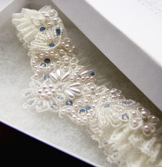 Blue Wedding Garter Uk: Opal Blue Romance Ivory Lace Beaded Wedding Garter