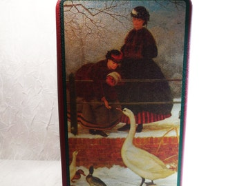 Women Feeding Birds - Winter Scene - Collectible Gift Tin