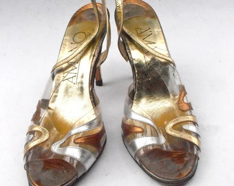 Vintage Gold Silver Bronze Leather Shoes Ladies Leather Peep Toe See Through Clear Womens Slingback Stilettos High Heels Amano U. S. Size 8M