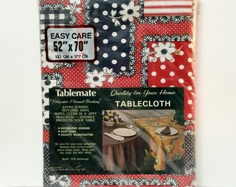 Vintage cloth backed vinyl tablecloth Tablemate c1980, red white blue floral patchwork polka dot 52 x 70 NOS, in original package