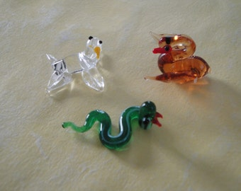Hand Blown Art Glass Figurine Three Pack