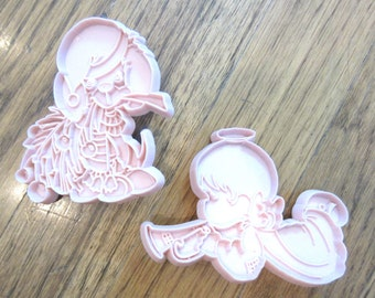 Precious Moments Cookie Cutters Trumpet Angel & Puppy Dog Pink Pastel 1991