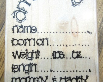 Dots U 113 Baby Announcement For Cards Invites Wooden Rubber Stamp