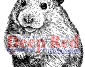 Deep Red Rubber Stamp Hamster Gerbil Family Pet Little Critter