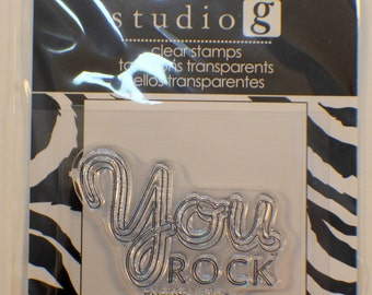 Studio G You Rock Enough Said Cling Clear Rubber Stamp