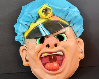 Vintage Police Officer Cop Halloween Mask Adult Size Loud Mouth Yelling Angry Funny Scary Blue Yellow 1970's