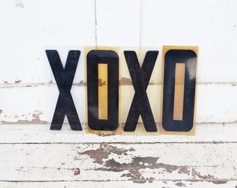 "Vintage XOXO Sign Marquee Symbol Word Letters Plastic Black 9"" Acrylic Photo Prop Love Hugs & Kisses Valentine"