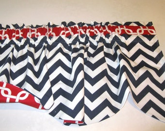 red white blue Scalloped window valance red white interfacing 17 X 106
