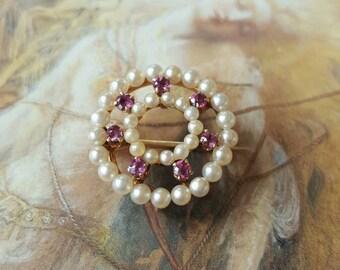 Vintage 14K GOLD Beautiful Seed Pearls Amethyst Brooch