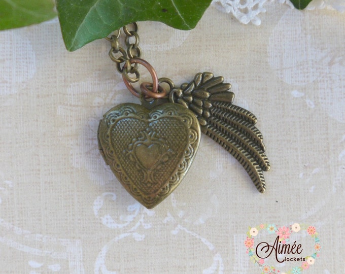 brass heart locket, antique bronze locket, victorian locket, wing charm locket necklace, photo locket, memory locket, vintage locket