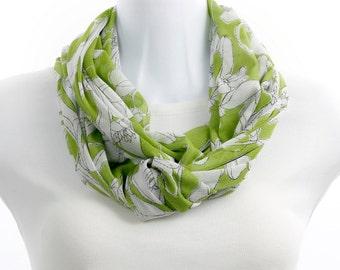 Lime Green Scarf Knit Mesh LONG infinity ~ K136-L5