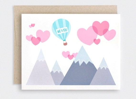 Valentines Day Card - Love is in the Air - Cute Anniversary Card, Engagement Card - Recycled Card - Hearts, Mountains, Funny