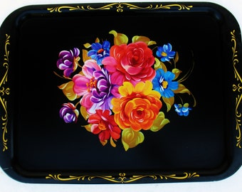 VTG Litho Print Tole Flowers Black Metal Tray Shabby Country Cottage Decor Decoration