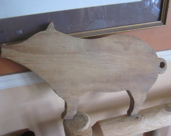 large vintage wood pig cutting board, cutting boards