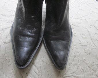 sz  6 1/2 etienne aigner ankle boots, cowboy boots, gorgeous black leather,,,western boots