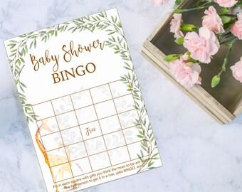 Baby Shower Bingo game, Giraffe Baby Shower, Instant Download, printable game, yellow baby giraff, green leaves, baby sprinkle