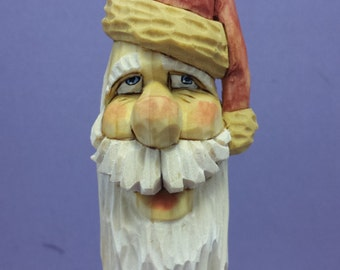 Hand carved Santa Claus Christmas tree ornament wood carving collectible Christmas decoration OOAK gift for him gift for her hand painted