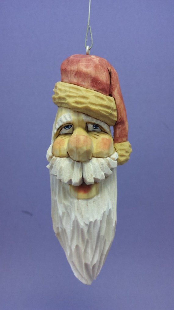 Hand carved santa claus christmas tree ornament wood carving
