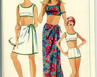 Fun in the Sun, 1966 Swimsuit & Sarong Wrap Skirt Sewing Pattern 6547, Size 16, Bust 36, Uncut