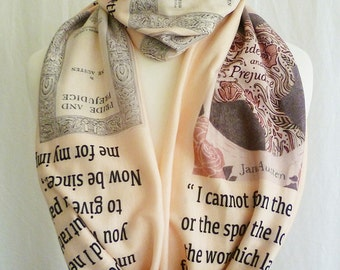 Pride And Prejudice Scarf, Soft Jersey Literature Prints